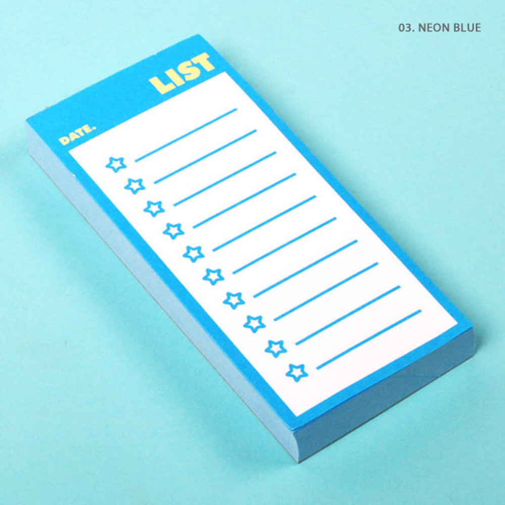 Neon blue - Lucalab Neon small checklist memo notepad