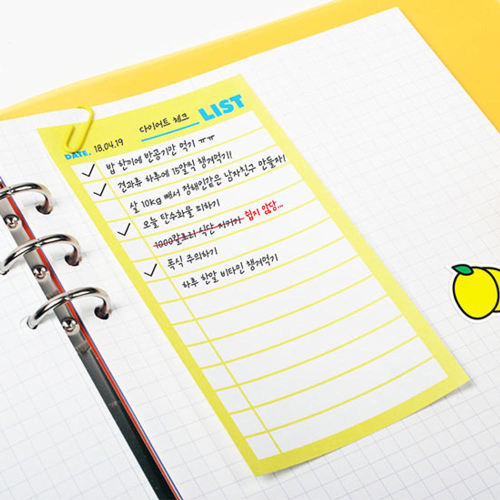 Example of use - Neon medium checklist memo notepad