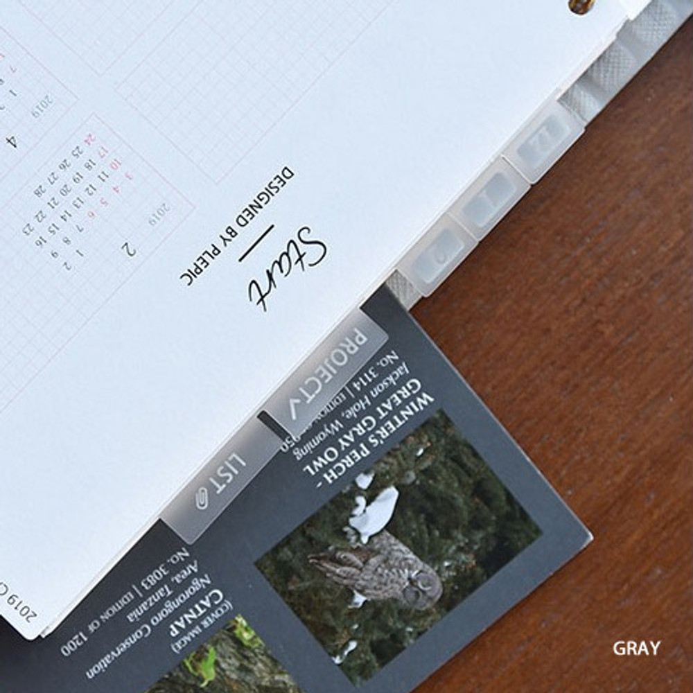 Gray - Feel so good clear adhesive index tab deco sticker