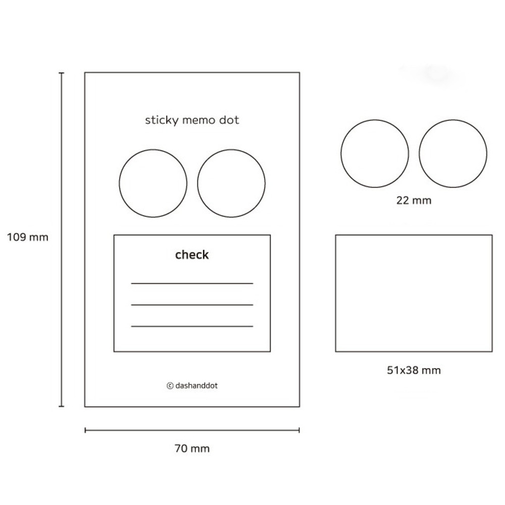 Size - Dash and Dot Dots and check memo notes sticky notepad