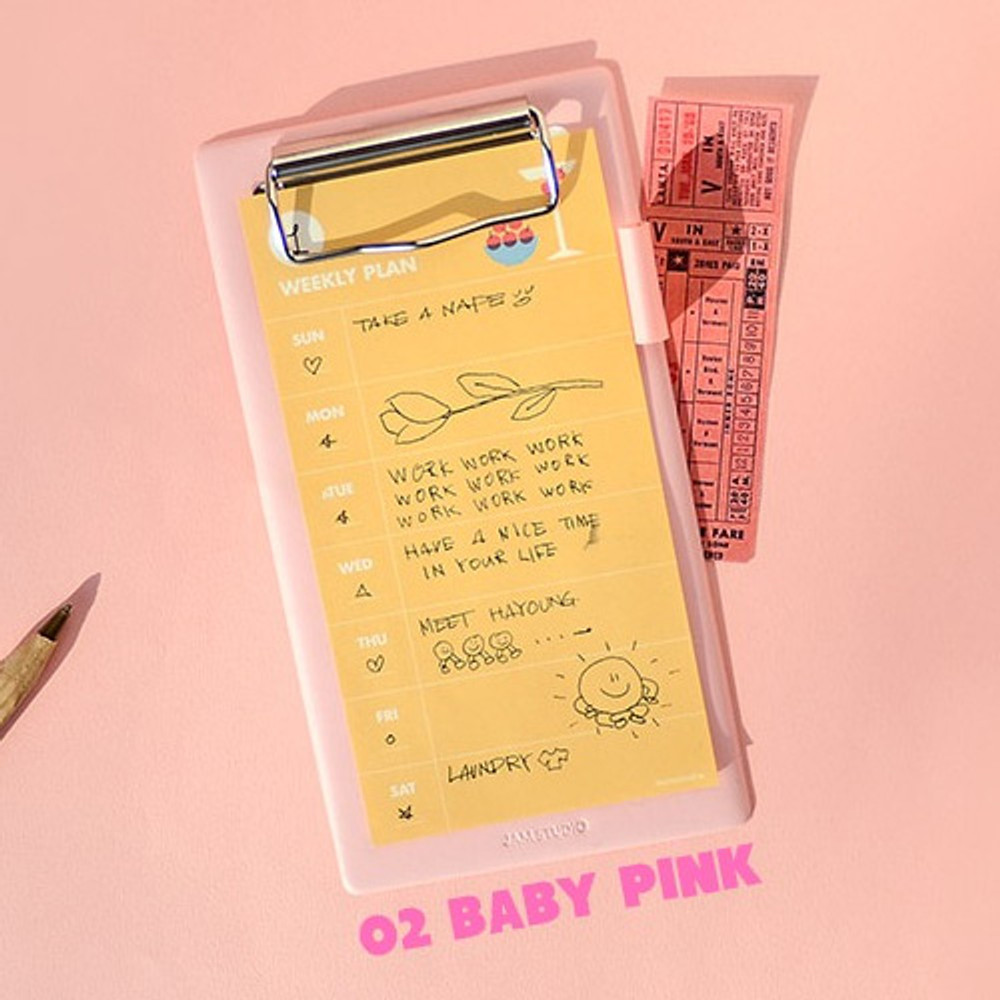 Baby pink - Jam medium clipboard with pen holder ver2