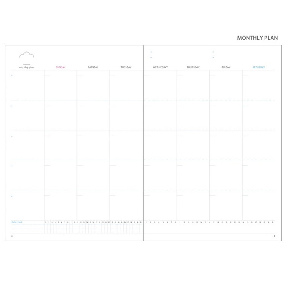 Monthly plan - Cloud story office life dateless daily planner