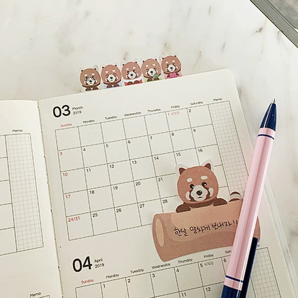 Example of use - Lesser panda sticky bookmark memo notepad set