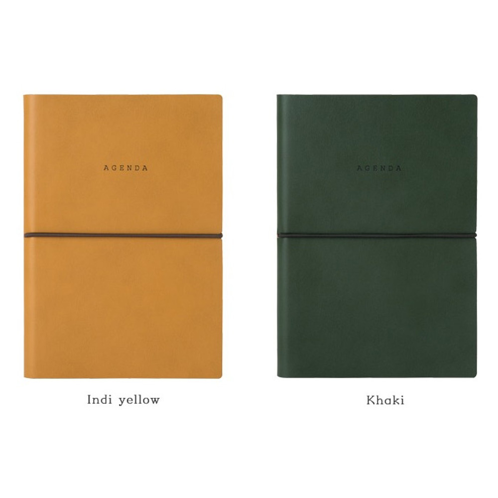 Indi yellow, Khaki - Agenda large dateless weekly planner diary ver12