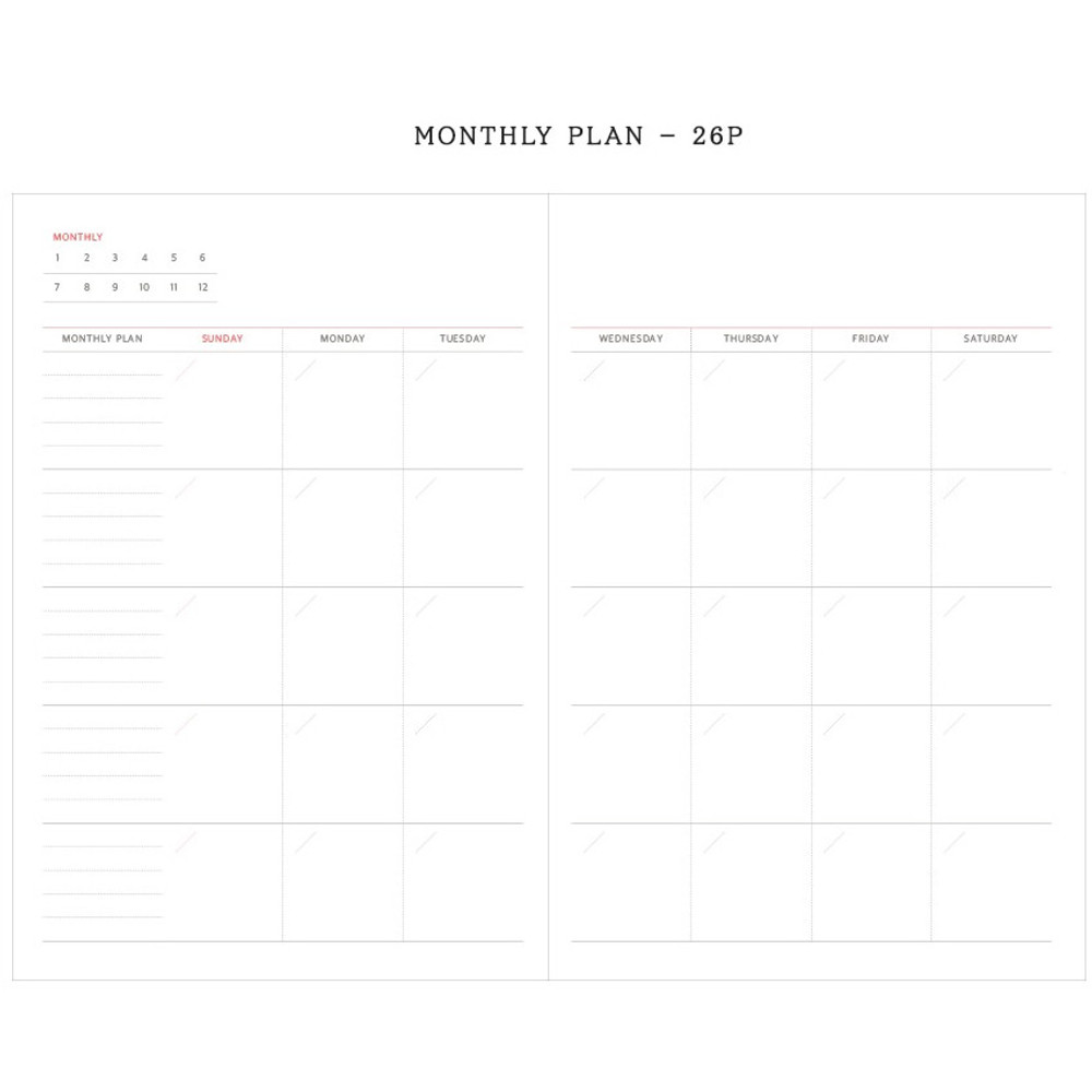 Monthly plan - Agenda large dateless weekly planner diary ver12