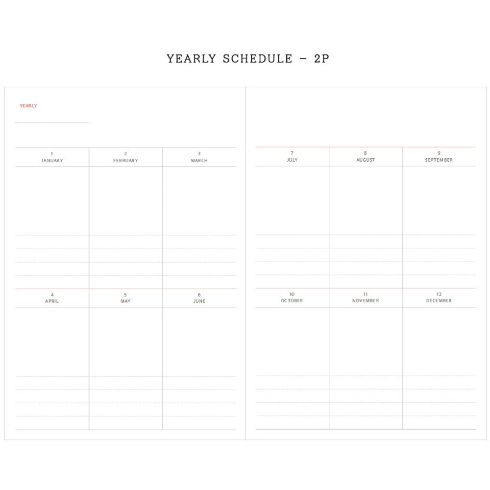 Yealy plan - Agenda large dateless weekly planner diary ver12