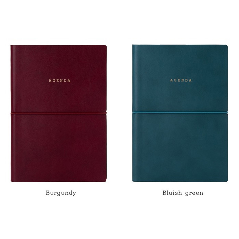 Burgundy, Bluish green - Agenda large dateless weekly planner diary ver12
