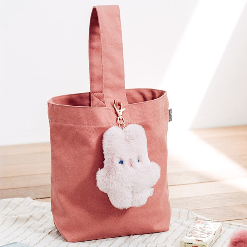 Pink - Piyo popuree cotton tote bag with cute doll charm