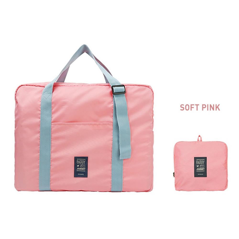 Soft pink - Easy carry small travel foldable duffle bag