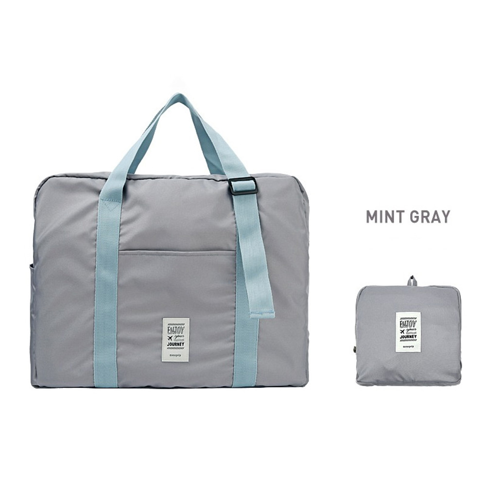 Mint gray - Easy carry large travel foldable duffle bag
