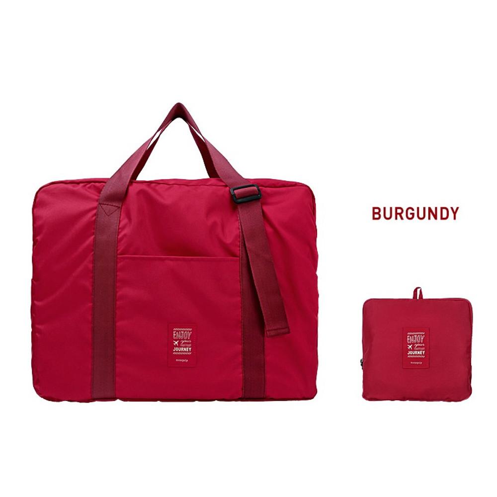 Burgundy - Easy carry large travel foldable duffle bag