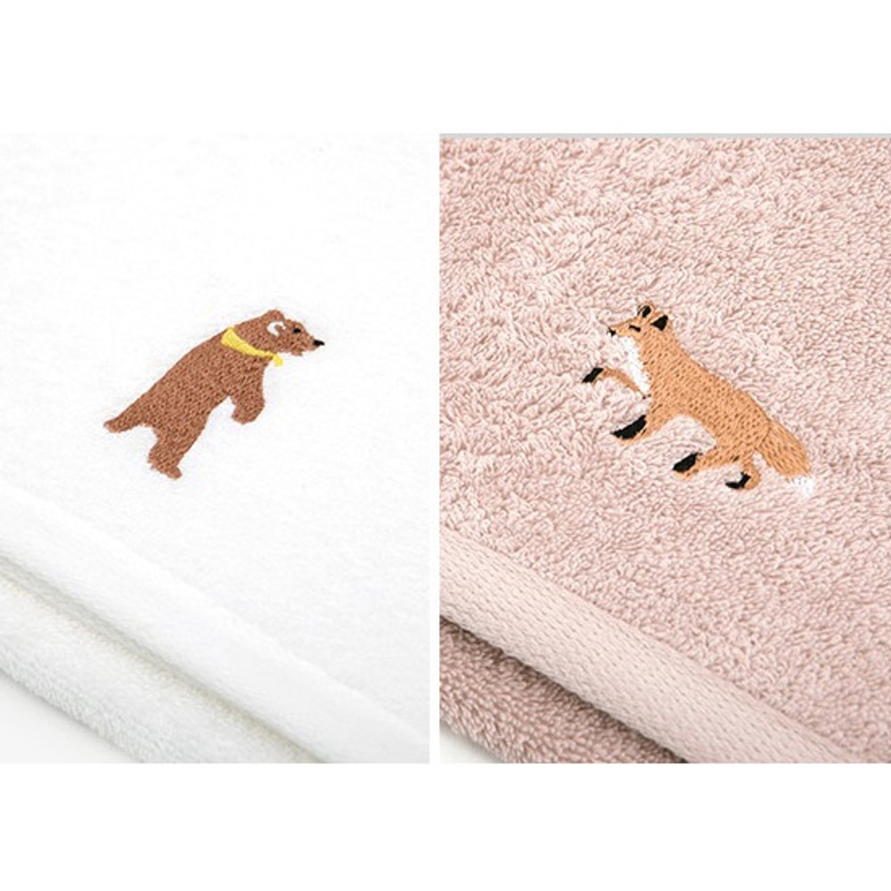 Dailylike Embroidery cotton hand towel set - Animal