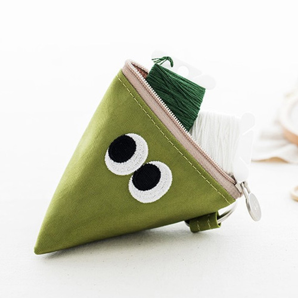 Lime - Som Som stitch earphone small zipper pouch