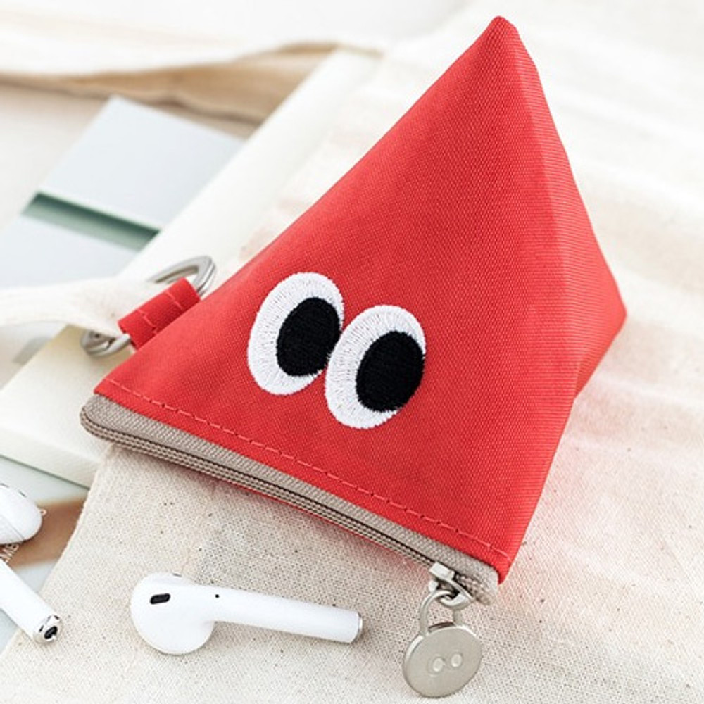 Red orange - Som Som stitch earphone small zipper pouch
