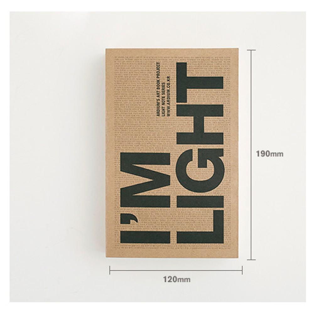 Size of I'm Light handy plain notebook