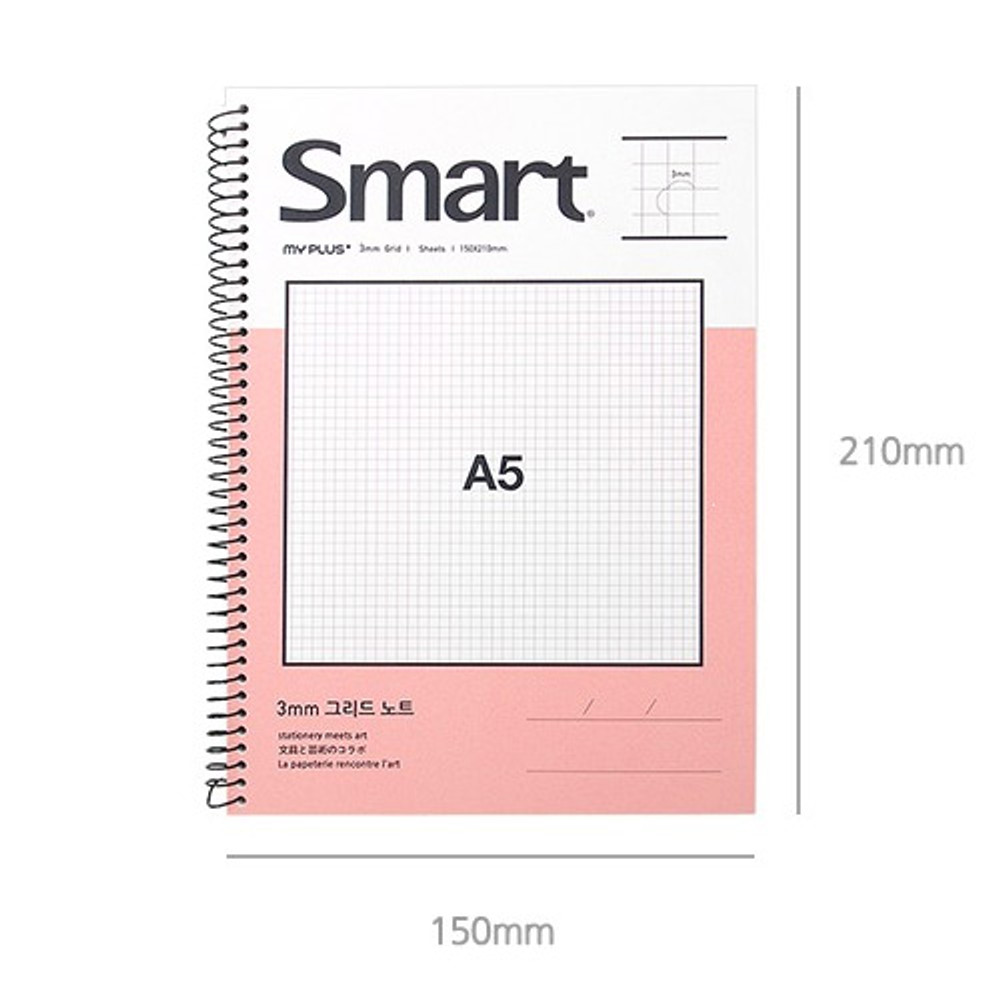 Size - 2young Smart spiral bound A5 size grid notebook