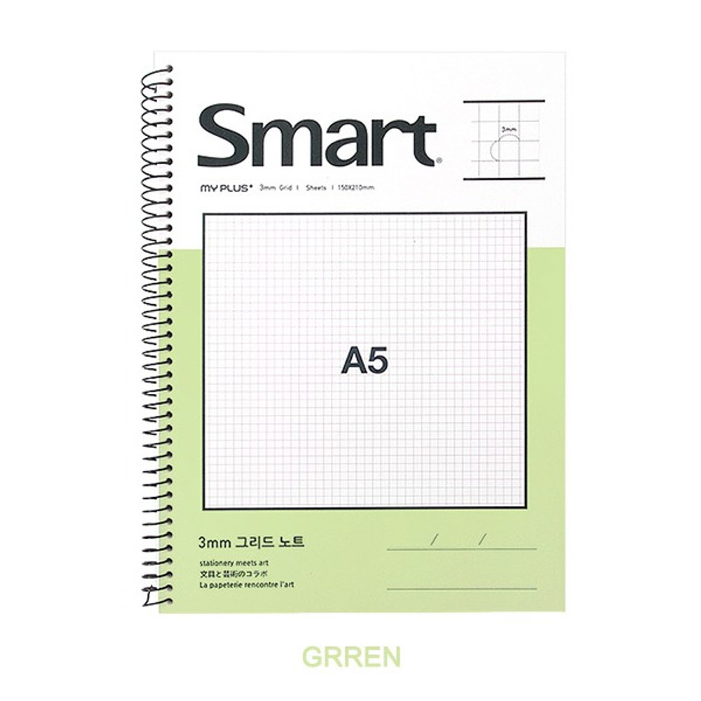 Green - 2young Smart spiral bound A5 size grid notebook