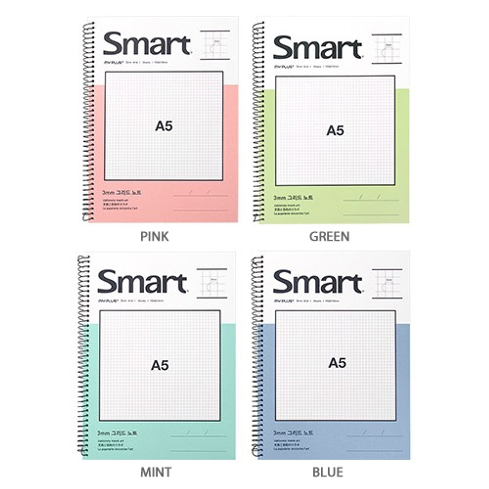 Color - 2young Smart spiral bound A5 size grid notebook
