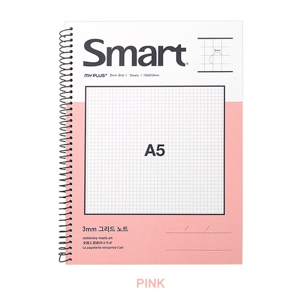 Pink - 2young Smart spiral bound A5 size grid notebook