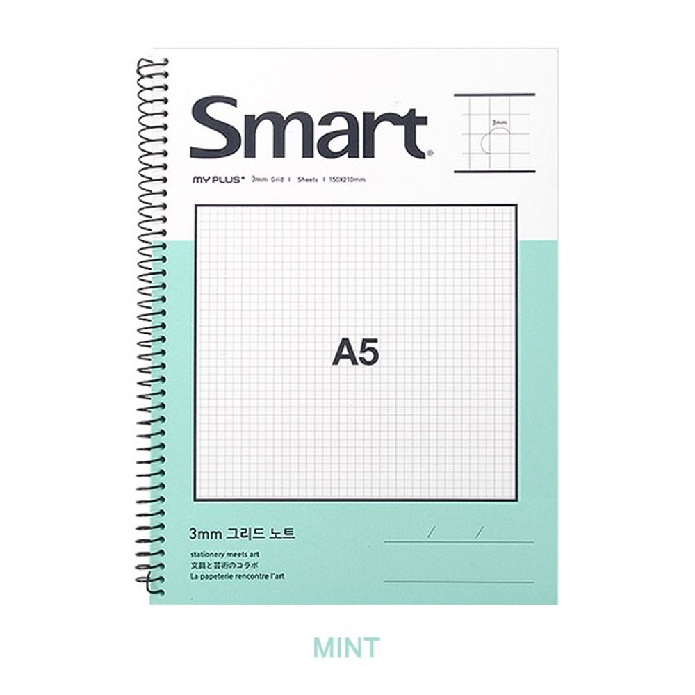 Mint - 2young Smart spiral bound A5 size grid notebook