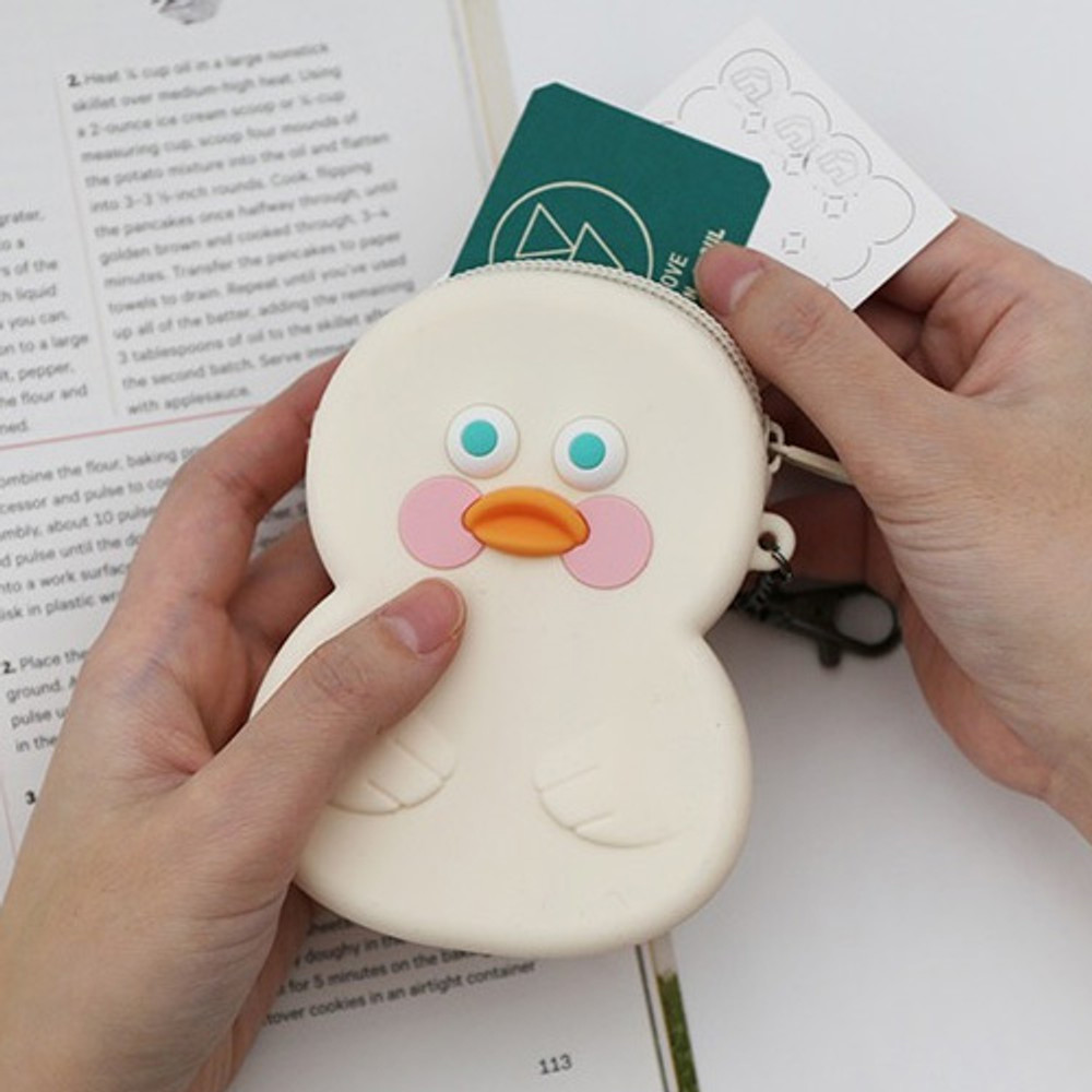 White duck - Brunch brother duck silicon zipper pouch with keychain