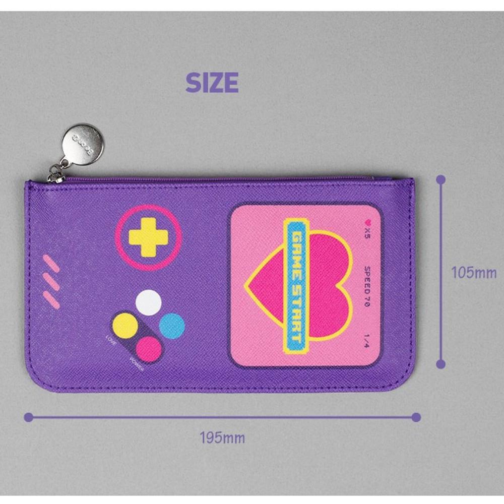 Size - After The Rain Retro PU flat zipper pouch
