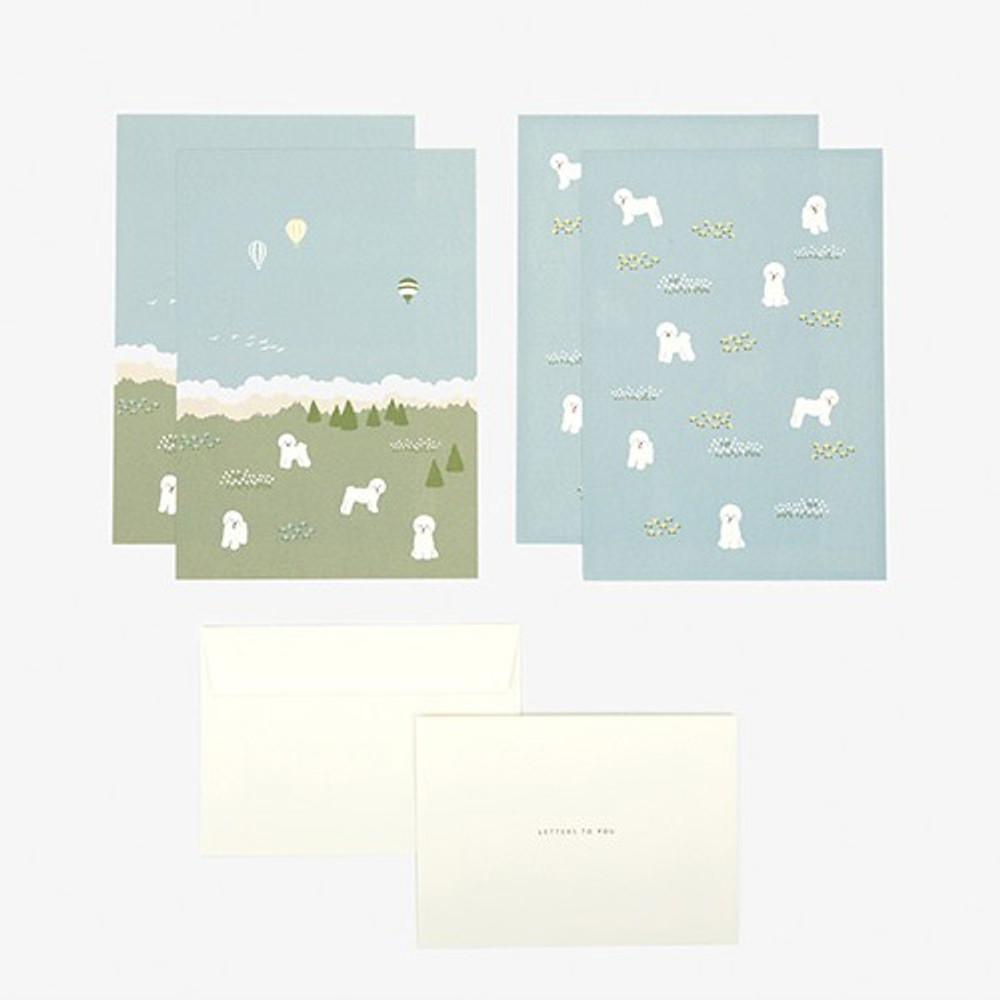 Composition - Daily letter paper and envelope set - Bichon frise