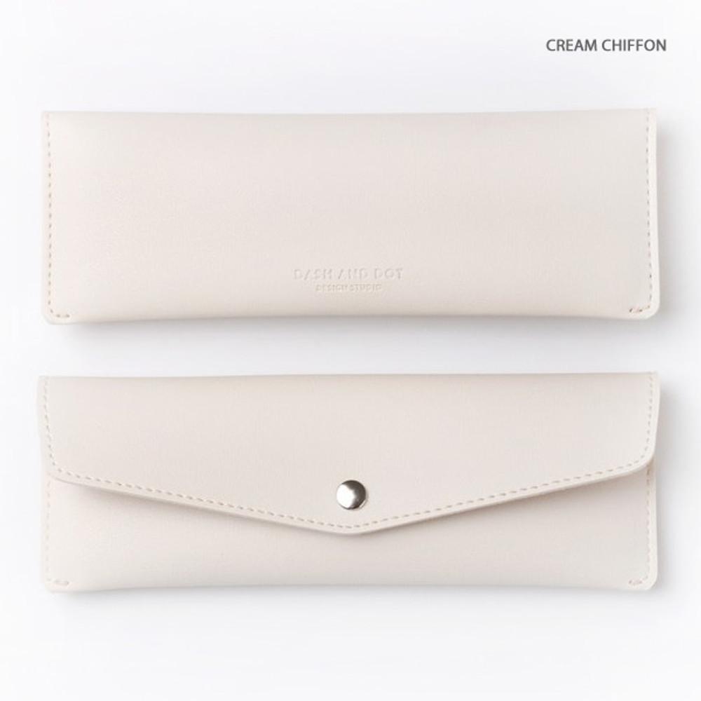 Cream chiffon - Merci PU stitched slim pencil case pouch