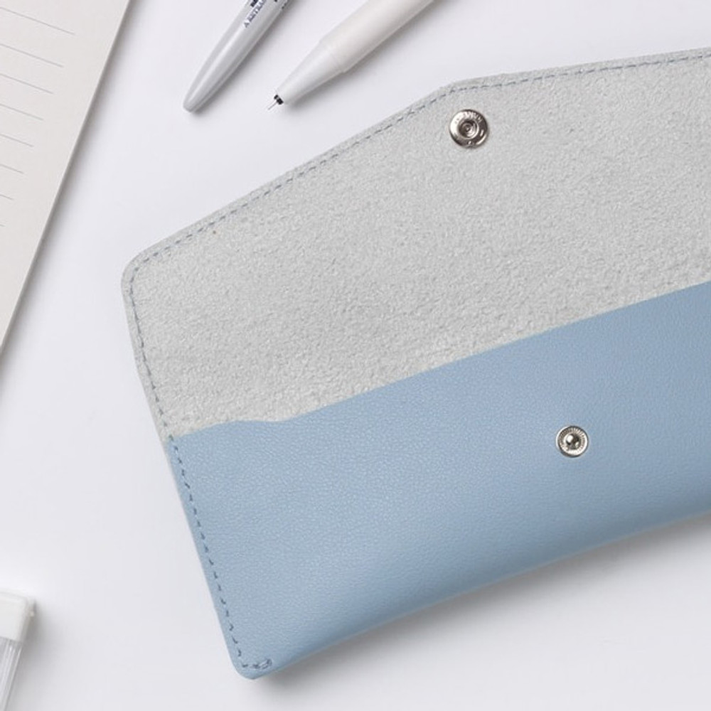 Misty blue - Merci PU stitched slim pencil case pouch