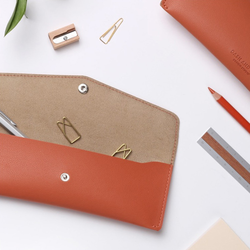 Cinnamon orange - Merci PU stitched slim pencil case pouch