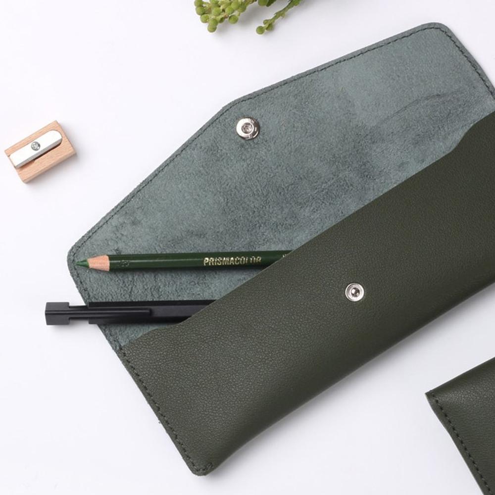Tree green - Merci PU stitched slim pencil case pouch