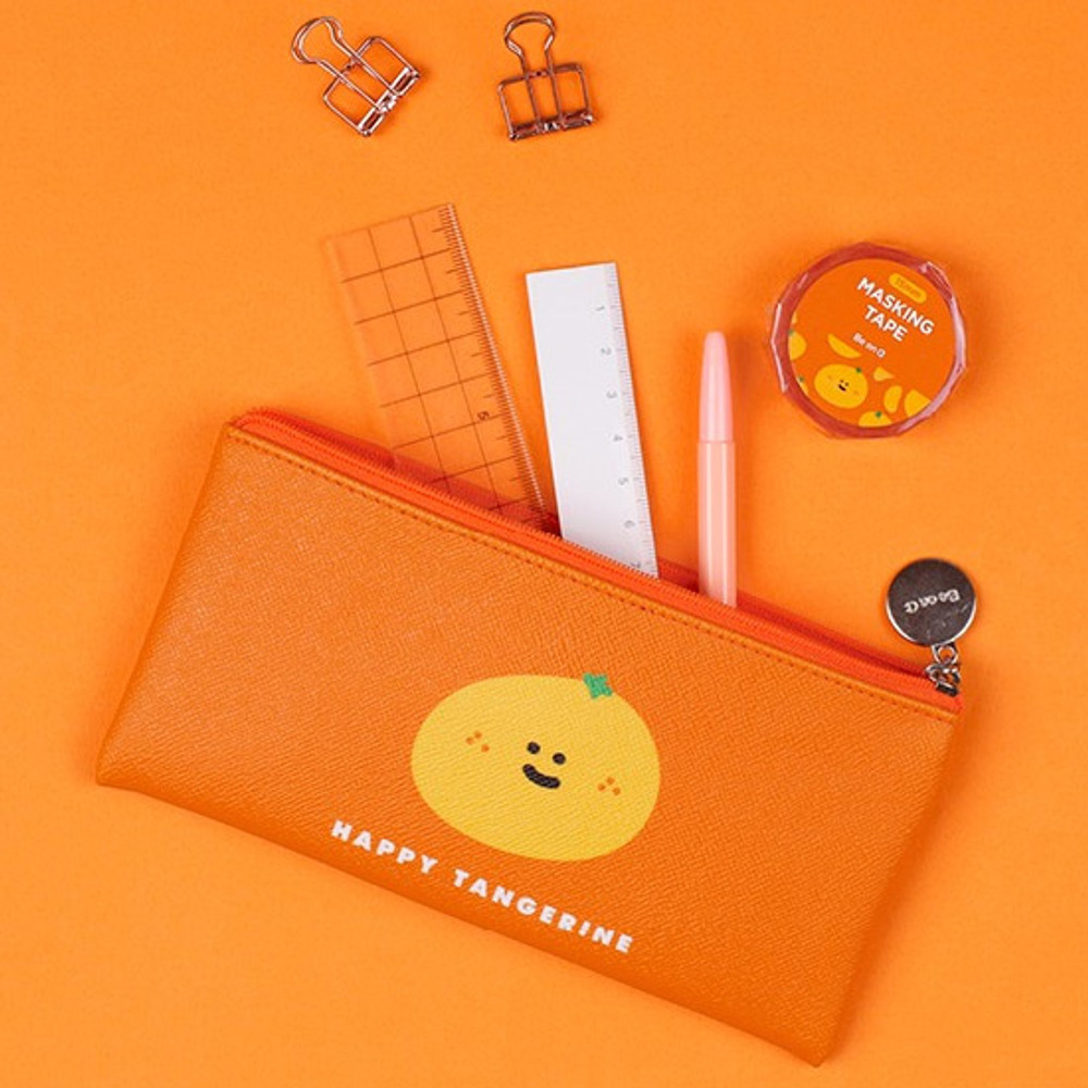 Happy tangerine - Fruit PU flat zipper pencil case pouch