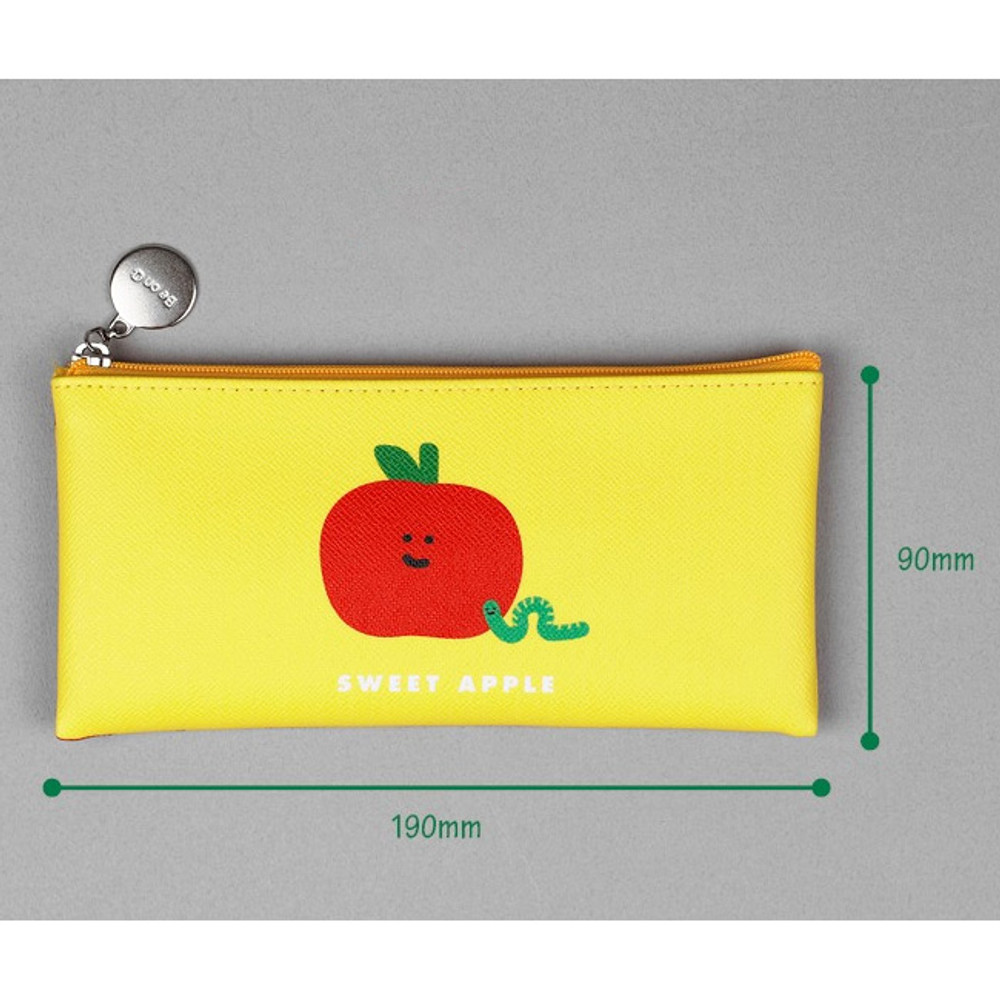 Size - Fruit PU flat zipper pencil case pouch