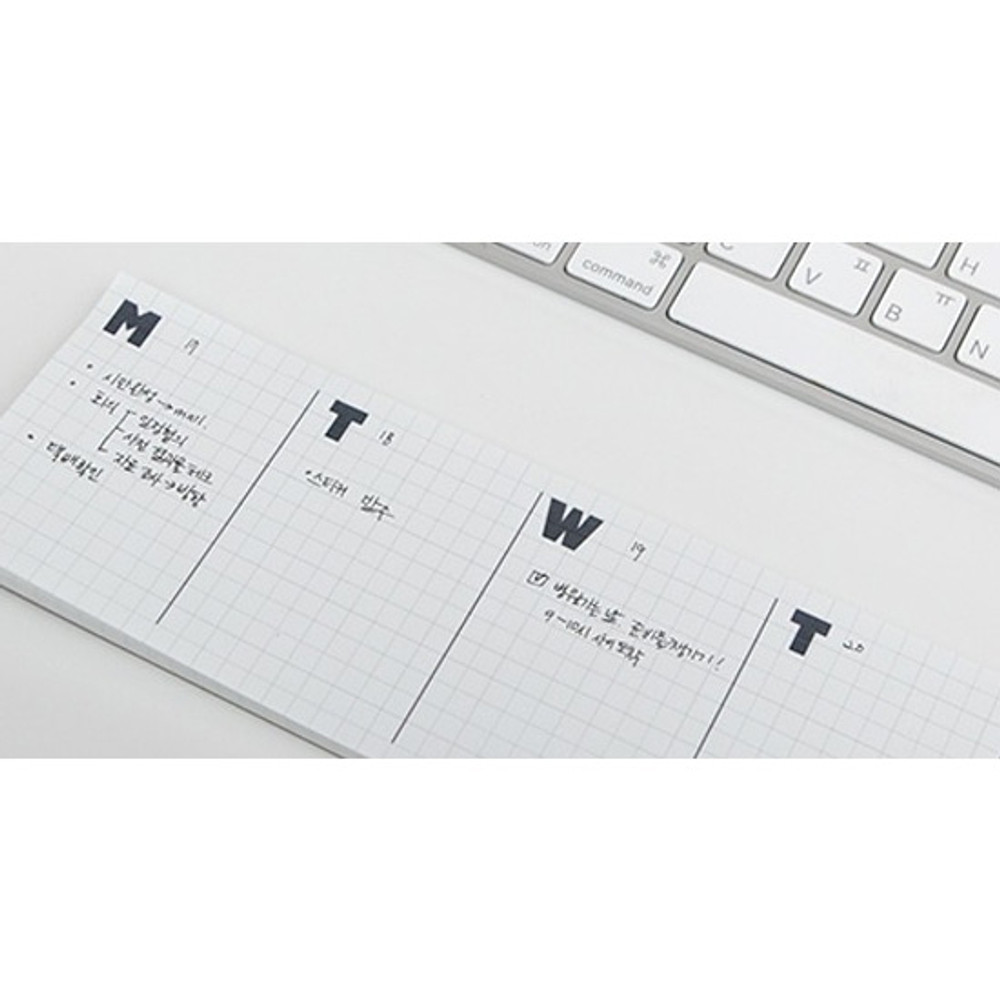 Example of use - JSTORY Grid sticky dateless weekly desk planner pad