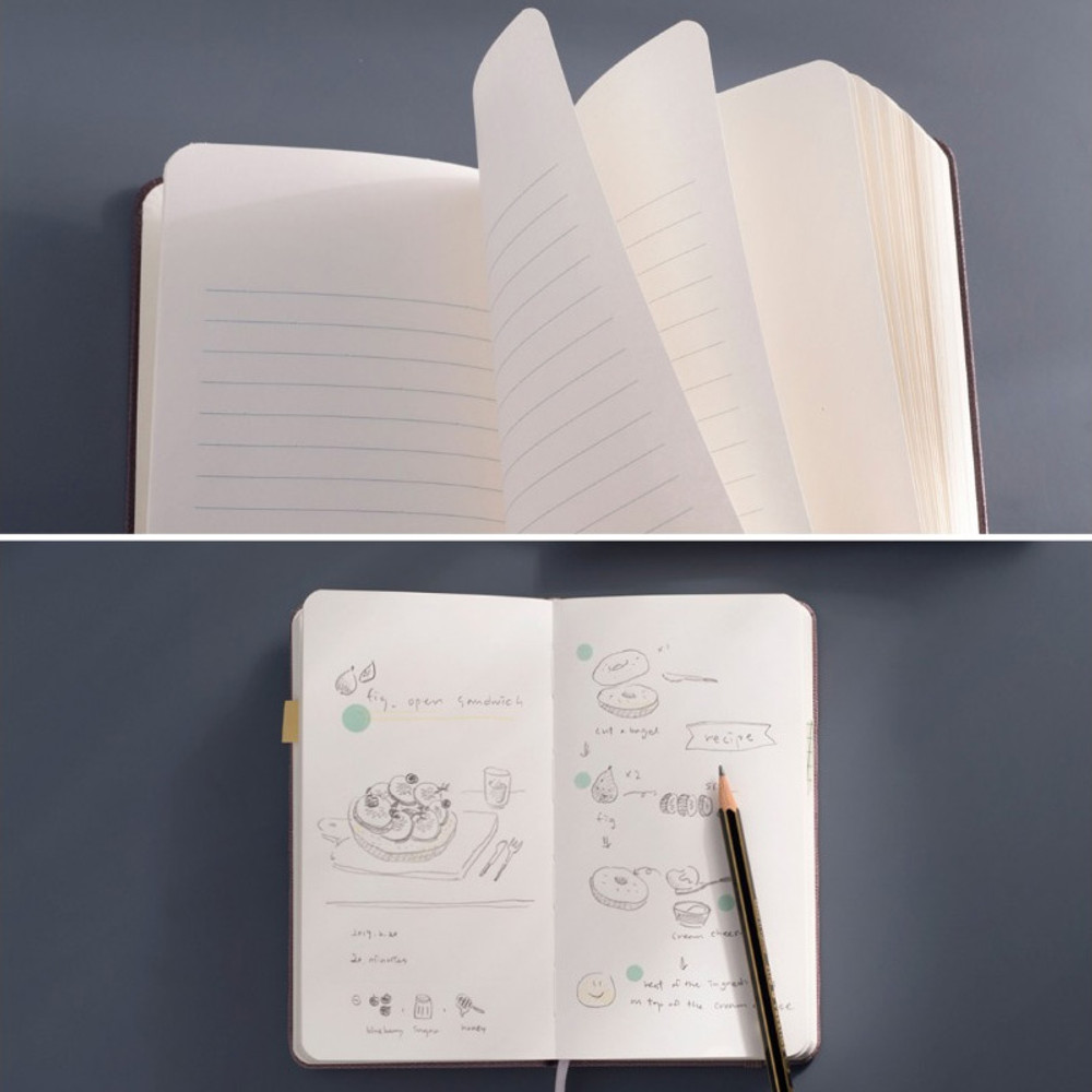 Lined page and blank page - Draw Memories Tomorrow small hardcover blank notebook