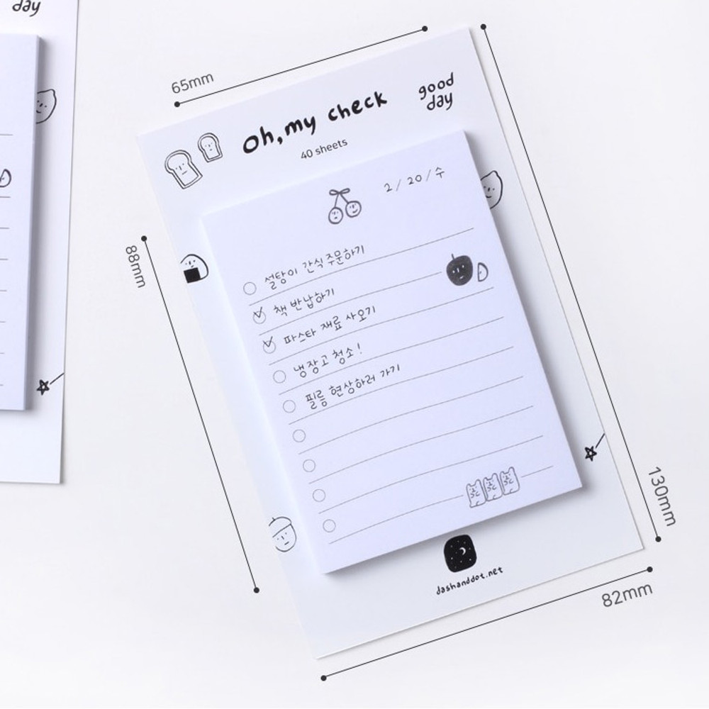 Size - Dash and Dot Oh my sticky checklist memo notepad