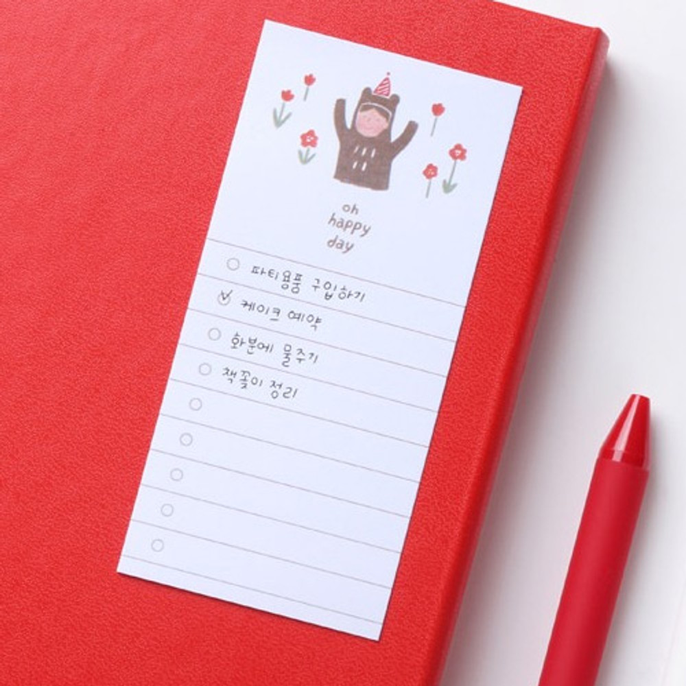 Example of use - Happy checklist sticky notepad memo