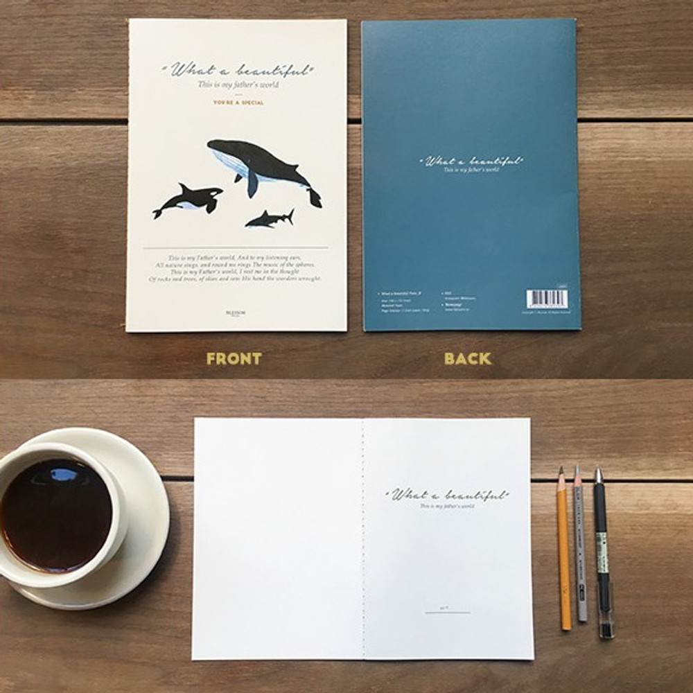 Front and Back - What a beautiful whale A5 lined notebook