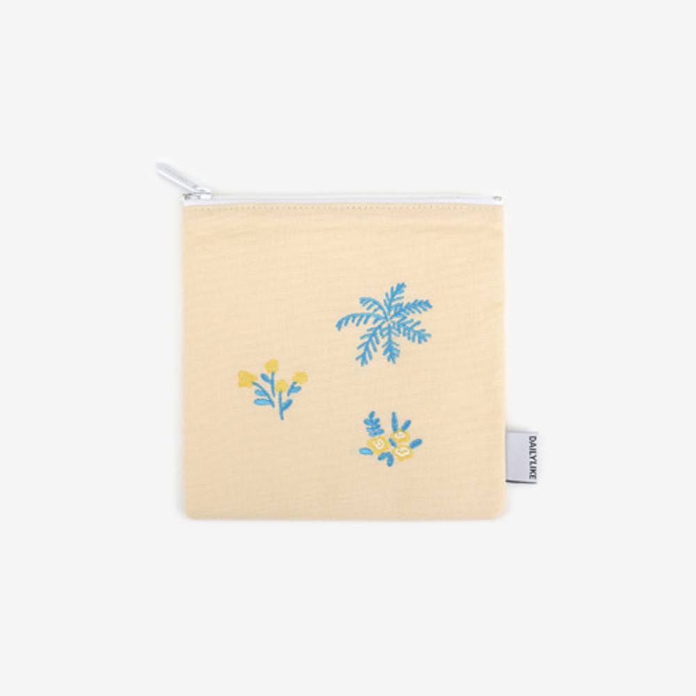 Dailylike Embroidery rectangle fabric zipper pouch - Flower shop