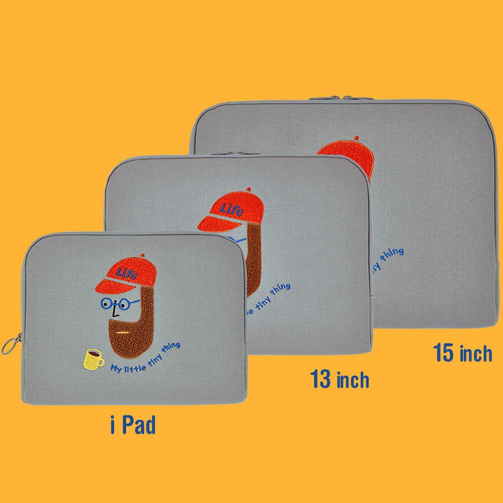 Size - Beard man boucle canvas iPad laptop pouch case