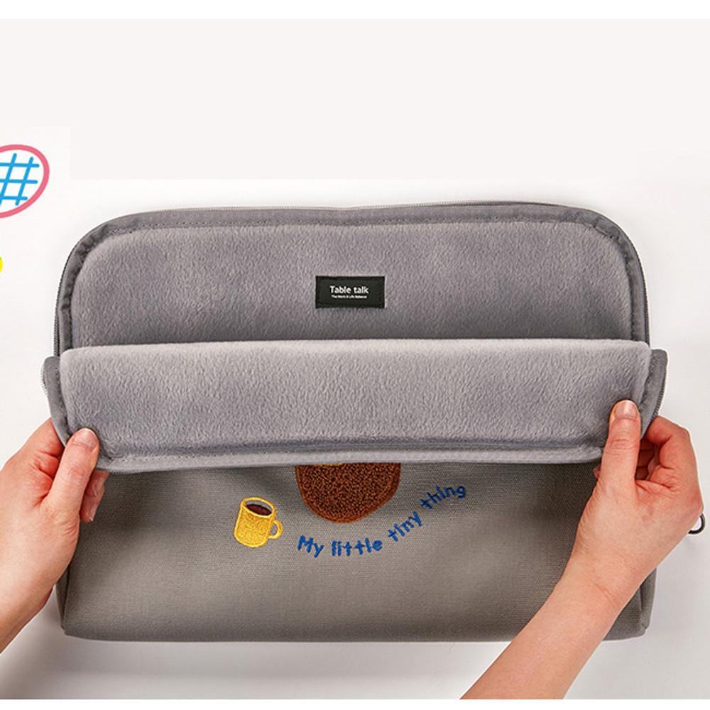 Inner  fake fur - Beard man boucle canvas iPad laptop pouch case