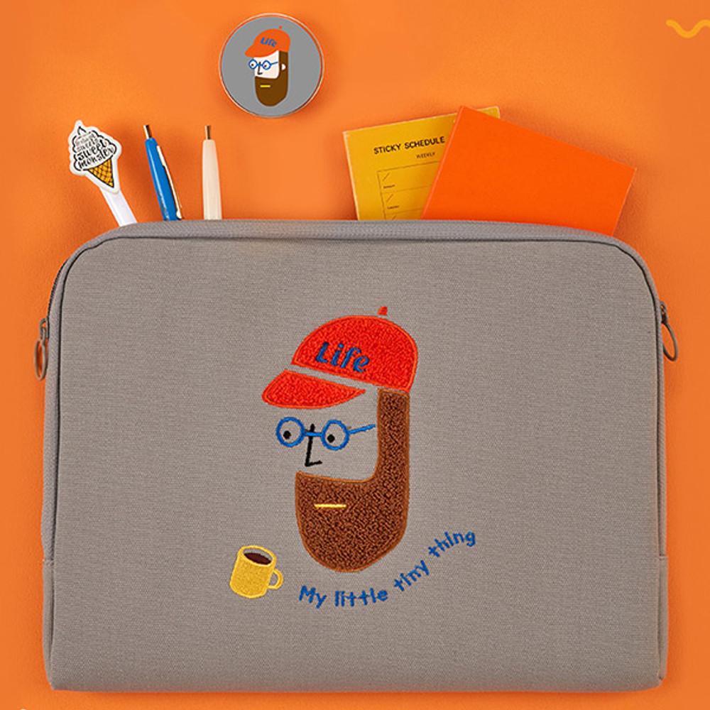 Antenna Shop Beard man boucle canvas iPad laptop pouch case