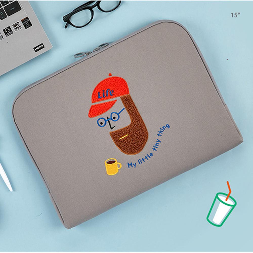 15 inch - Beard man boucle canvas iPad laptop pouch case