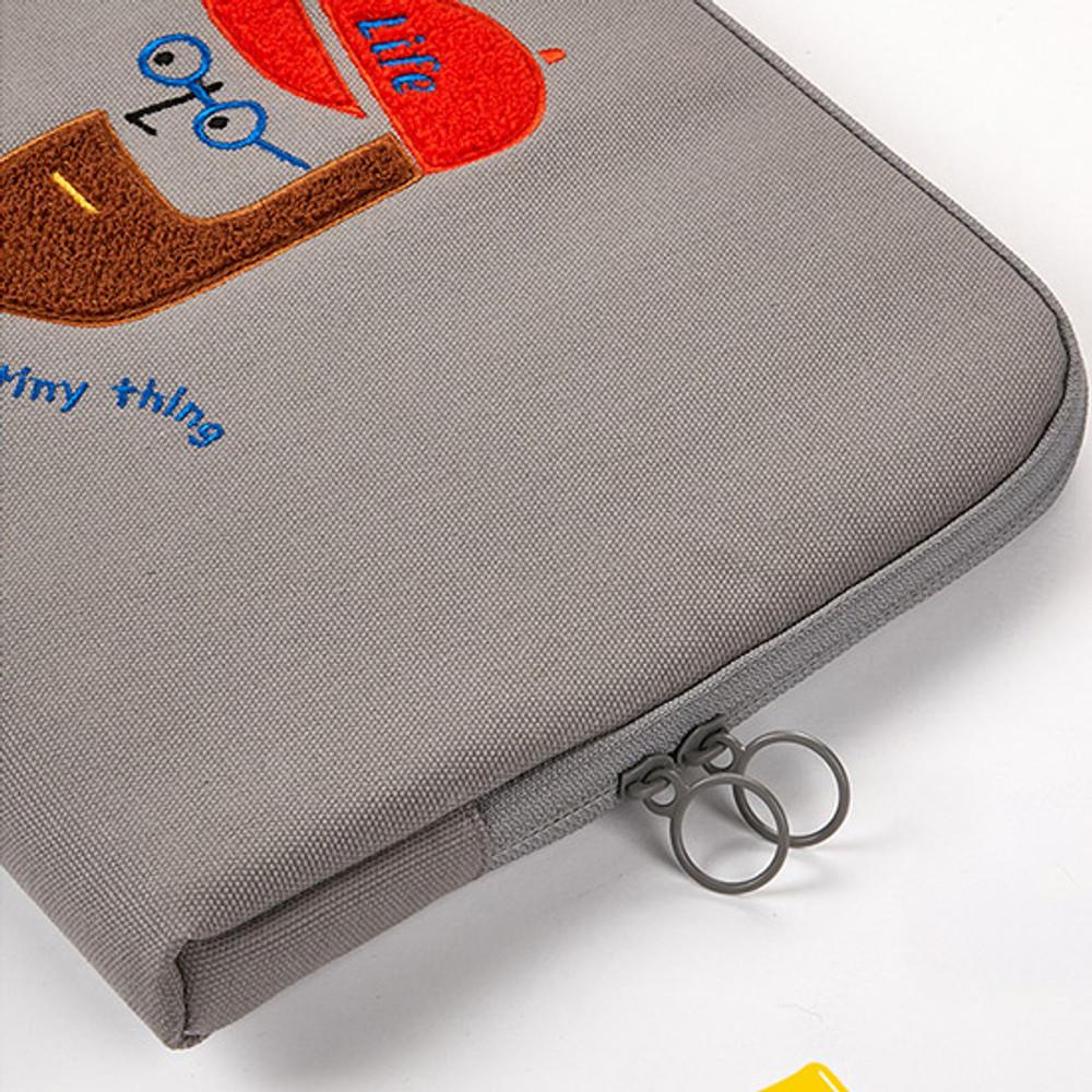 O ring - Beard man boucle canvas iPad laptop pouch case