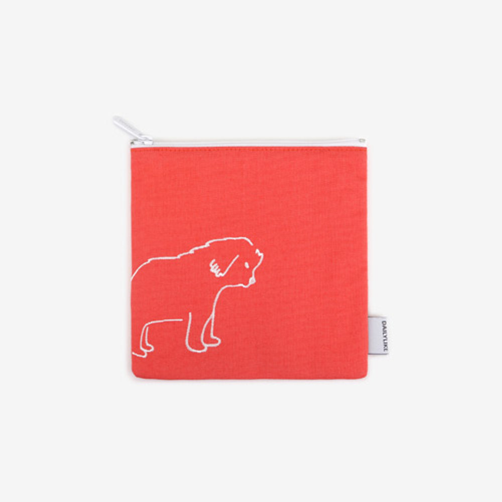 Dailylike Embroidery rectangle fabric zipper pouch - Daily dog