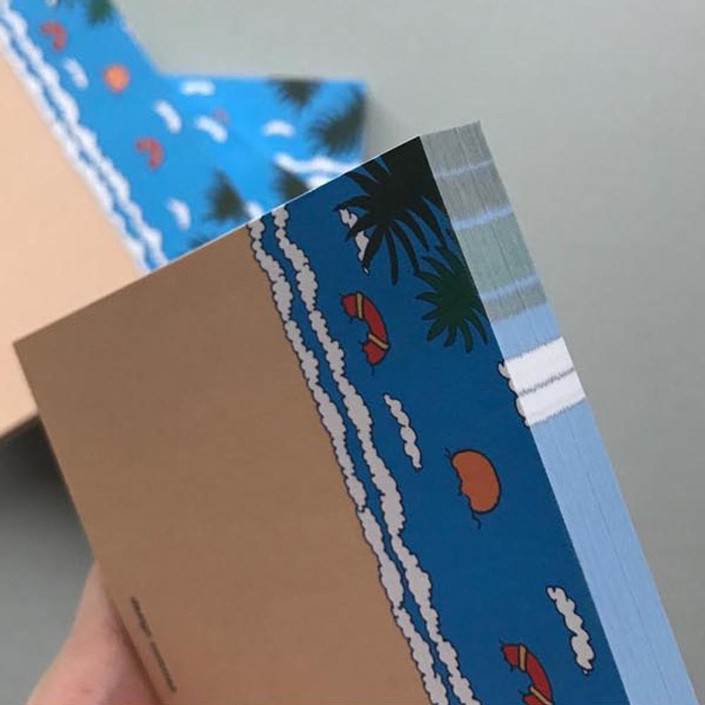 Detail of Memowang beach illustration memo notepad