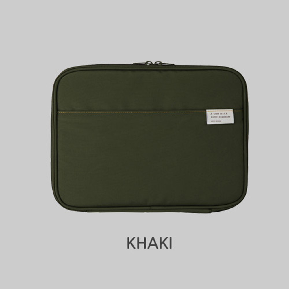 Khaki - Livework A low hill basic pocket tablet iPad zip  pouch ver5