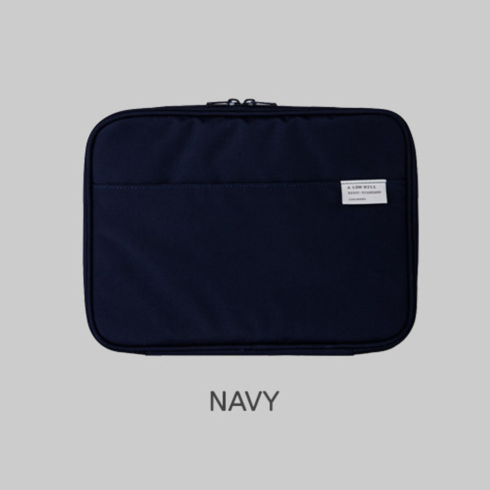 Navy - Livework A low hill basic pocket tablet iPad zip pouch ver5