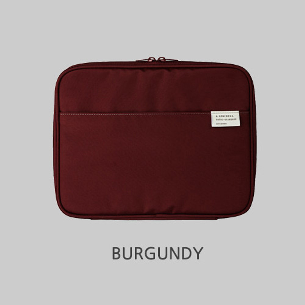 Burgundy - Livework A low hill basic pocket tablet iPad zip pouch ver5