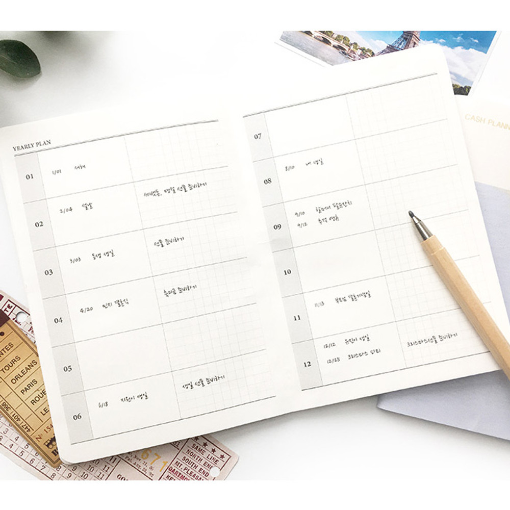 Yearly plan - O-CHECK Spring come cash book planner